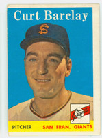 1958 Topps Baseball 21 Curt Barclay San Francisco Giants Good to Very Good