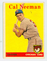 1958 Topps Baseball 33 b Cal Neeman Chicago Cubs Good to Very Good
