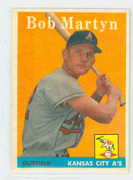 1958 Topps Baseball 39 Bob Martyn Kansas City Athletics Excellent to Mint