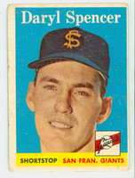 1958 Topps Baseball 68 Daryl Spencer San Francisco Giants Good to Very Good