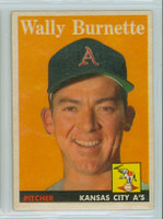 1958 Topps Baseball 69 Wally Burnette Kansas City Athletics Excellent to Mint