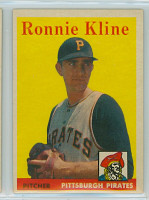 1958 Topps Baseball 82 Ron Kline Pittsburgh Pirates Excellent to Excellent Plus