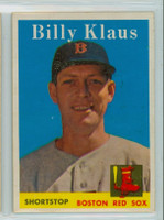 1958 Topps Baseball 89 Billy Klaus Boston Red Sox Excellent