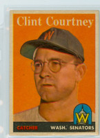 1958 Topps Baseball 92 b Clint Courtney Washington Senators Excellent to Excellent Plus