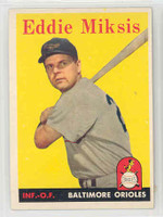 1958 Topps Baseball 121 Eddie Miksis Baltimore Orioles Excellent to Mint