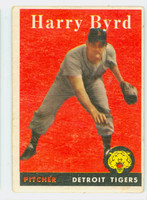 1958 Topps Baseball 154 Harry Byrd Detroit Tigers Good to Very Good