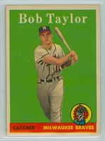 1958 Topps Baseball 164 Bob Taylor Milwaukee Braves Excellent to Mint