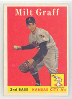 1958 Topps Baseball 192 Milt Graff Kansas City Athletics Excellent to Mint