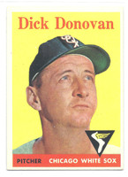 1958 Topps Baseball 290 Dick Donovan Chicago White Sox Excellent to Mint