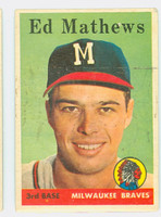 1958 Topps Baseball 440 Ed Mathews Milwaukee Braves Good to Very Good