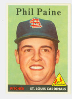 1958 Topps Baseball 442 Phil Paine St. Louis Cardinals Excellent to Mint