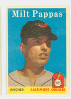 1958 Topps Baseball 457 Milt Pappas ROOKIE Baltimore Orioles Very Good to Excellent