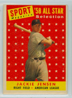 1958 Topps Baseball 489 Jackie Jensen AS Boston Red Sox Excellent