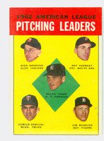 1963 Topps Baseball 8 AL Pitching Leaders Very Good to Excellent