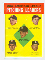 1963 Topps Baseball 8 AL Pitching Leaders Excellent to Excellent Plus