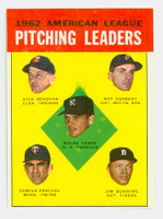 1963 Topps Baseball 8 AL Pitching Leaders Excellent to Mint