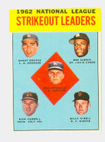 1963 Topps Baseball 9 NL Strikeout Leaders Excellent to Excellent Plus