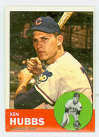 1963 Topps Baseball 15 Ken Hubbs Chicago Cubs Excellent