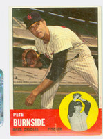 1963 Topps Baseball 19 Pete Burnside Baltimore Orioles Poor