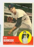 1963 Topps Baseball 19 Pete Burnside Baltimore Orioles Fair to Good