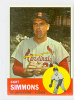 1963 Topps Baseball 22 Curt Simmons St. Louis Cardinals Excellent