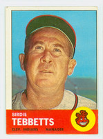 1963 Topps Baseball 48 Birdie Tebbetts Cleveland Indians Very Good to Excellent