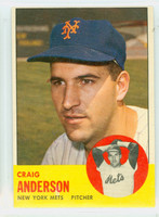 1963 Topps Baseball 59 Craig Anderson New York Mets Excellent