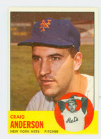 1963 Topps Baseball 59 Craig Anderson New York Mets Excellent to Mint