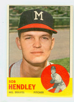 1963 Topps Baseball 62 Bob Hendley Milwaukee Braves Excellent to Excellent Plus