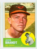 1963 Topps Baseball 65 Jackie Brandt Baltimore Orioles Excellent to Excellent Plus