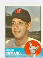 1963 Topps Baseball 72 Johnny Romano Cleveland Indians Excellent to Excellent Plus