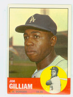 1963 Topps Baseball 80 Jim Gilliam Los Angeles Dodgers Excellent to Excellent Plus