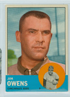 1963 Topps Baseball 483 Jim Owens Tough Series Cincinnati Reds Very Good to Excellent
