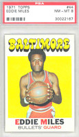 1971 Topps Basketball 44 Eddie Miles Baltimore Bullets PSA 8 Near Mint to Mint