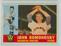 1960 Topps Baseball 87 John Romonosky Washington Senators Excellent to Mint