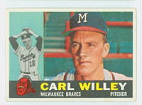 1960 Topps Baseball 107 Carl Willey Milwaukee Braves Excellent to Excellent Plus