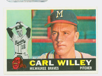 1960 Topps Baseball 107 Carl Willey Milwaukee Braves Excellent to Mint