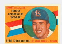 1960 Topps Baseball 124 Jim Donohue St. Louis Cardinals Excellent to Excellent Plus