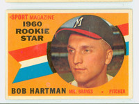 1960 Topps Baseball 129 Bob Hartman Milwaukee Braves Excellent to Excellent Plus