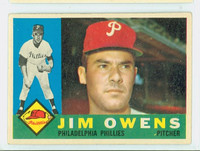 1960 Topps Baseball 185 Jim Owens Philadelphia Phillies Excellent to Excellent Plus