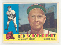 1960 Topps Baseball 335 Red Schoendienst Milwaukee Braves Excellent