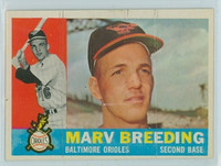 1960 Topps Baseball 525 Marv Breeding High Number Baltimore Orioles Excellent