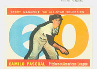 1960 Topps Baseball 569 Camilo Pascual AS High Number Washington Senators Very Good