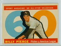 1960 Topps Baseball 571 Billy Pierce AS High Number Chicago White Sox Very Good to Excellent