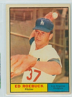 1961 Topps Baseball 6 Ed Roebuck Los Angeles Dodgers Excellent to Mint