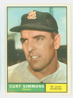 1961 Topps Baseball 11 Curt Simmons St. Louis Cardinals Excellent to Excellent Plus