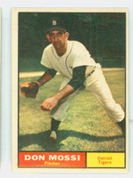 1961 Topps Baseball 14 Don Mossi Detroit Tigers Excellent to Excellent Plus