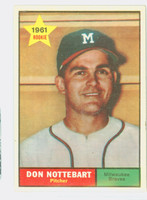 1961 Topps Baseball 29 Don Nottebart Milwaukee Braves Excellent to Excellent Plus