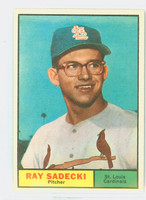 1961 Topps Baseball 32 Ray Sadecki St. Louis Cardinals Excellent