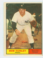 1961 Topps Baseball 40 Bob Turley New York Yankees Very Good to Excellent